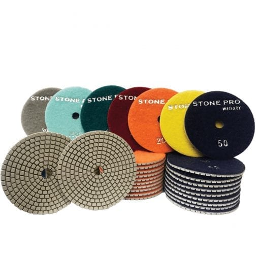 "Stone Pro Hybrid Diamond White Polishing Pads 4"" & 5"""